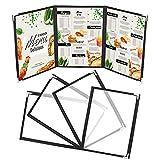 Kurtzy Funda para Cartas de Restaurantes Tres Pliegues A4 (Pack de 5) 3 Pliegues Vista Doble Estilo Americano - Fundas de Cartas Negras Protectores de Esquina – Para Restaurantes, Bares, Cafés