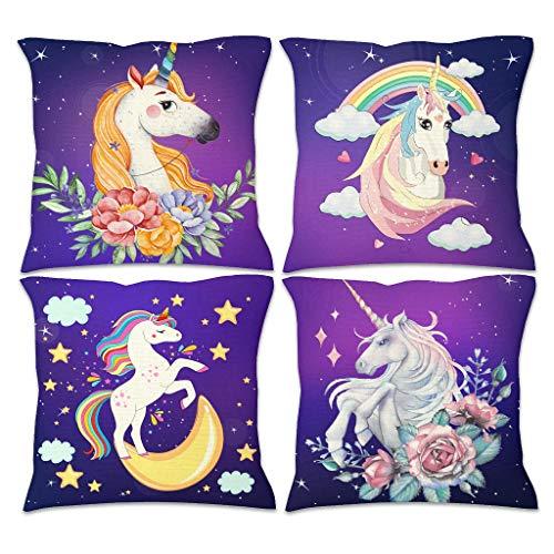 Fundas de cojín de lino, diseño de flores y unicornio, color lila, 4 unidades, con cremallera oculta para decoración de dormitorio, lino, blanco, 45 x 45 cm
