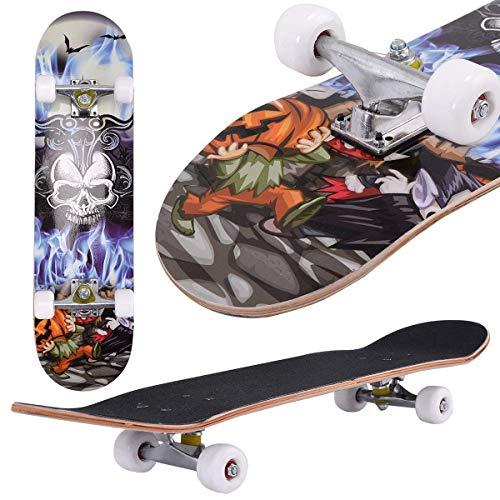 Aceshin, Skateboard Completo, Lungo 78 cm, per Principianti e Professionisti, Skateboard, Skateboard Cruiser, Ruote Lisce, in Poliuretano, per Bambini, Ragazzi e Principianti