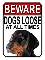 常に犬が緩んでいることに注意してください壁の金属のポスターレトロなプラーク警告ブリキのサインヴィンテージ鉄の絵画の装飾オフィスの寝室のリビングルームクラブのための面白い吊り工芸品