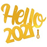 SOIMISS Año Nuevo Hola 2021 Banner Oro Brillante Colgante Garland Decoraciones de Fiesta Año Nuevo Suministros de Fiesta para Manto Chimenea Pared