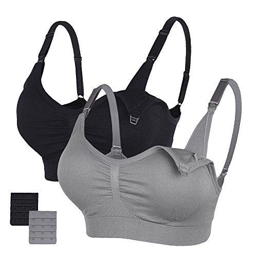 STELLE Body Silk Seamless Maternity Nursing Bra with Pads, Extenders & Clips (Black+Gray, XXL)