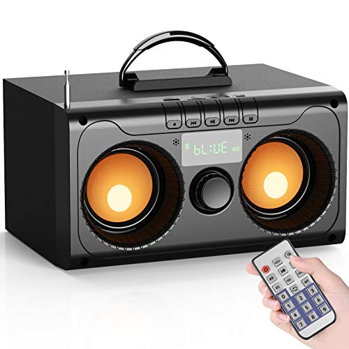 Portable Bluetooth Speakers Wireless Party Speaker with Double Subwoofer Heavy Bass, Support FM RadioTF Card LCD Display, for Indoor/Outdoor Home Phone PC Camping Travel Party