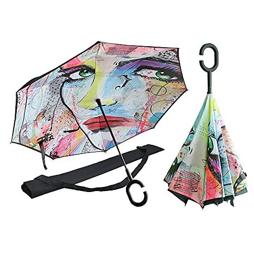 CARMANI Elegante ombrello tascabile L. Jover astratto 1 apri mano