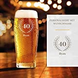 Smyla Bierglas 40. Geburtstag mit Gravur | Geschenk-Idee | personalisiertes Bier-Glas mit Name | Geschenk für Männer 0,5 Liter
