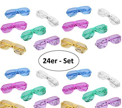 Flanacom Partybrillen 24er Set in 6 verschiedenen Metallic Farben - Partybrille Atzenbrille Scherzbrille Spaßbrillen - Scherzartikel für Geburtstagsparty, Fasching, Karneval, Malle (24er Set)