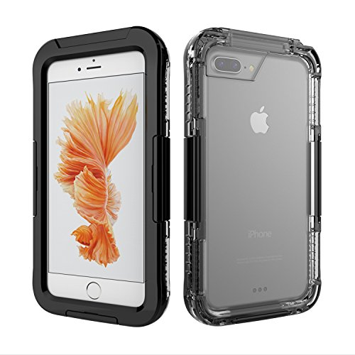 Funda Impermeable para iPhone 6/7/8 Plus, Weideworld PC + Silicona Carcasa Anti-Agua a Prueba de Golpes Anti-Polvo, Anti Choques Waterproof Case Cover Completa Sellado para iPhone 6/7/8 Plus,Negro