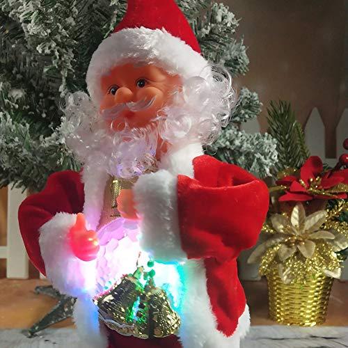 LAOOWANG Weihnachtsmann-Plüsch-Puppe, Weihnachtsmann-singendes tanzendes elektrisches Plüsch-Spielzeug und Musik-Puppe mit LED-Licht