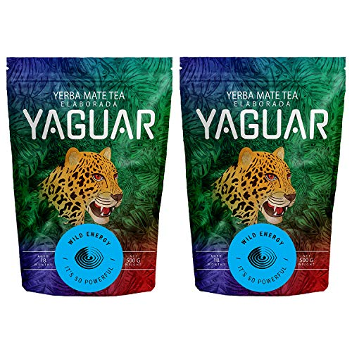 Yerba Mate Yaguar Wild Energy | Mate Tee mit höchstem Koffeingehalt | Yerba Mate aus Argentinien | Extra starke Stimulation | Sehr energetisierender Mate Tee (1000g (2x500g))