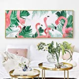 Abstract Pink Bird Poster Green Leaf Landscape Canvas Art Living Room sofá Fondo Mural,Pintura sin Marco,30X60cm