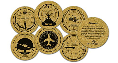 Corkology Aviation Set Flight instruments Coasters, 3.75'...