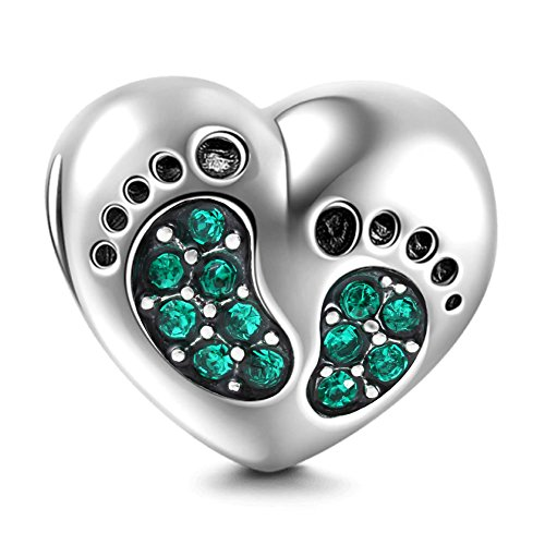 Impronta a forma di cuore in argento Sterling 925Family Love Baby First Steps charm per charm braccialetto Emerald