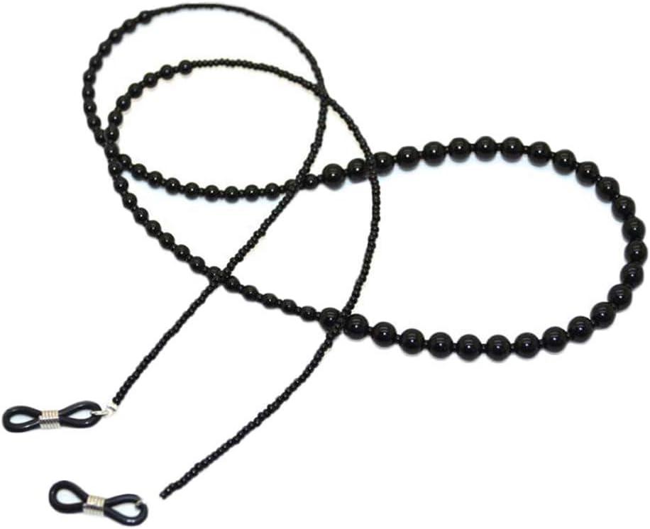 Black Vintage Acrylic Beads Eyeglass Chain Sunglasses Eyewear Holder Strap Reading Glasses Chain for Women Men