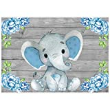 Allenjoy 7x5ft Rustic Wood Elephant Backdrop Supplies for Baby Shower Blue Floral It's a Boy Newborn Kids Birthday Party Decorations Studio Cake Smash Candy Dessert Photography Banners Props Favors