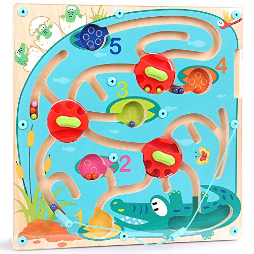TOP BRIGHT Magnetisch Labyrinth Spiel für Kinder, Holz Labyrinth Puzzle Magnetspiel, Spielzeug für 2 3 Jahren Jungen und Mädchen Geschenke