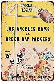 Jesiceny New Tin Sign 1961 Los Angeles Rams VS Green Bay Packers Aluminum Metal Sign 8x12 Inches