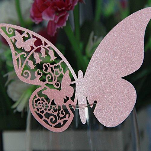 Jypc 100pz farfalle Segnaposto Segnabicchiere bomboniera matrimonio segnatavolo (Rosa)