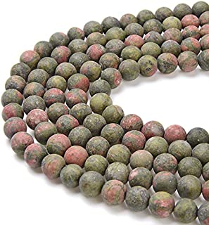 PLTbeads Gorgeous Unakite Natural Gemstone Loose Beads 10mm Matte Round Approxi 15.5 inch DIY Bracelet Necklace for Jewelry Making