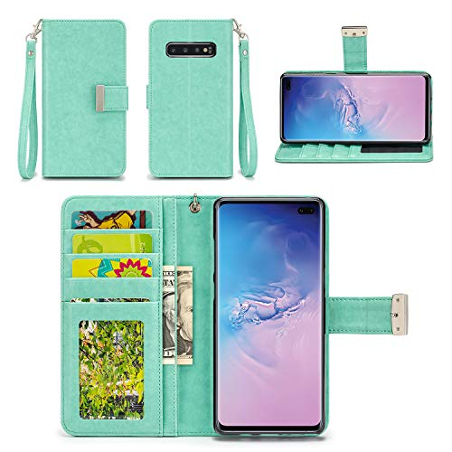 IZENGATE Wallet Case Designed for Samsung Galaxy S10 Plus - PU Leather Flip Cover Folio with Stand (Mint)
