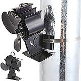 EastMetal Ventilador para Chimenea de Pared, 2 en 1 Ventilador de Estufa 4 Aspas, Stove Tube Fan, Circulación de Aire Caliente- Mudo Diseño- Diseño Ecológico, para Estufa de Leña/Chimenea