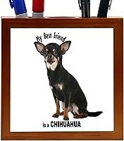 Rikki Knight My Best Friend is a Black Chihuahua Dog Design 5-Inch Tile Wooden Tile Pen Holder (RK-PH44810) [並行輸入品]
