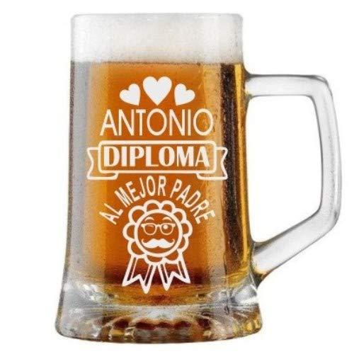Jarra de Cerveza Personalizada Día del Padre DIPLOMA MEJOR PADRE Regalo Grabado y Personalizado para Hombre o Mujer Obsequio Celebraciones Cumpleaños Aniversarios Día del Padre Detalle