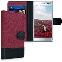 kwmobile Funda Compatible con Sony Xperia XA2 - Carcasa de Tela y Cuero sintético Tarjetero Rojo Oscuro/Negro