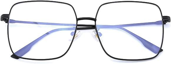 Mimoeye Blue Light Blocking Glasses Oversized Metal Square Non Prescription Computer Glass for Women and Men Kids