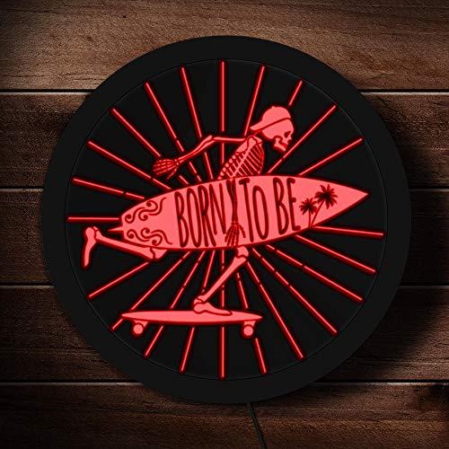 Born to be skeleton surfer letrero de neón led calavera con letrero de exhibición de regalo de surfista de tabla de surf iluminado
