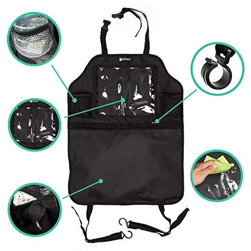 KidsPoint Rückenlehnenschutz Autositzschoner Rückenlehne für Kinder mit Autositz Organizer, XXL Rücksitztaschen mit Trittschutz für Vordersitz