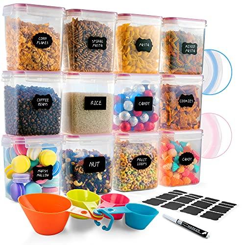 Deco haus Vorratsdosen 12 Set 1.6L - Aufbewahrungsbox Küche Luftdicht Vorratsbehälter - Frischhaltedosen Behälter aus Plastik Mit Deckel - Vorratsgläser zur Aufbewahrung von Nudeln, Müsli, Mehl