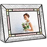 Glass Picture Frame 4x6 Photo Display Wedding Anniversary Colorful Green, Pink Rose J Devlin Pic 137-46H