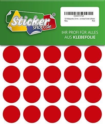 120 Klebepunkte, 30 mm, rot, aus PVC Folie, wetterfest, Markierungspunkte Kreise Punkte Aufkleber