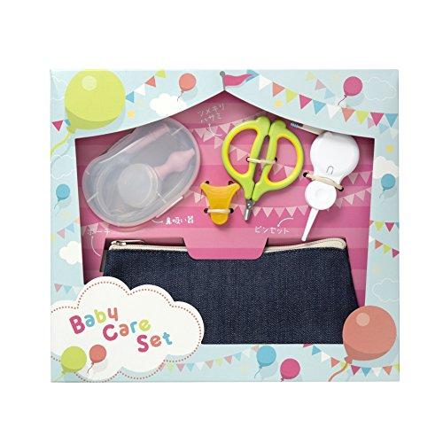 貝印 新生児ギフトセットB (爪切りハサミ・ピンセット・鼻吸い器・ポーチ) ギフトに最適なお手入れセット