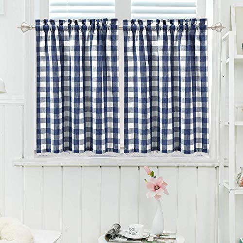 2 Pack Farmhouse Kitchen Window Tiers 24 Inch Buffalo Check Small Short Bathroom Curtain Plaid Gingham Country Style Half Kitchen Cafe Curtains, Navy Blue and White Tires Curtain Valances - 2 Panels