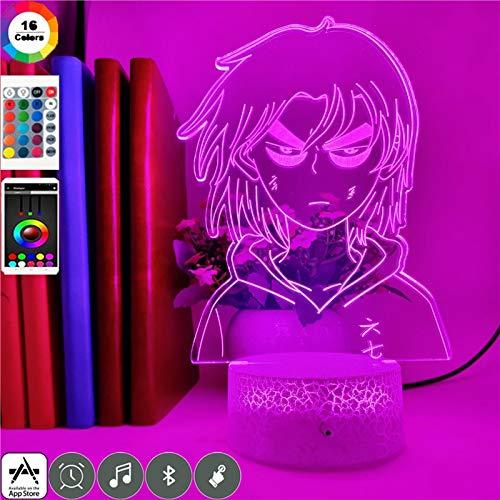 TYWFIOAV 3D LED 7 Cambio de Color Anime Tijeras Siete Luces de Noche Ventilador decoración del Dormitorio Regalo de cumpleaños de Vacaciones Reloj Base lámpara de Mesa