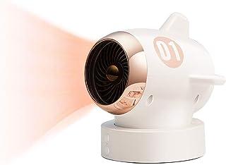 Portátil Mini Ventilador Calefactor, 350W / 650W, 80 ° Oscilación, Cerámica PTC Personal del Ventilador del Calentador, Tip-sobre La Protección, Mute, para El Hogar, Baño, Oficina,Blanco