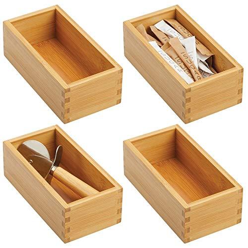 mDesign Bamboo Kitchen Cabinet Drawer Organizer Tray Bin -...
