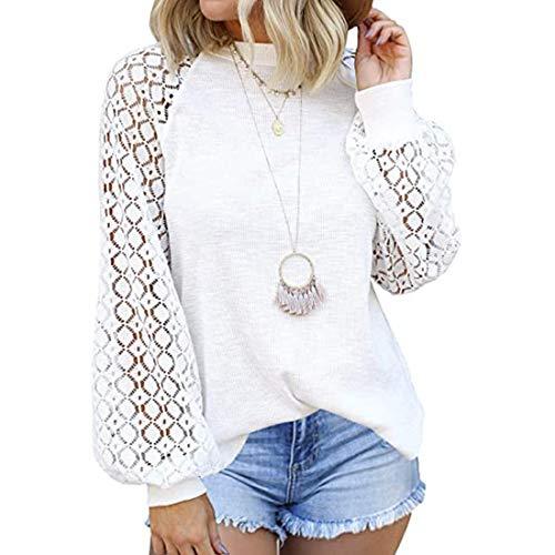 OEAK Damen Spitze Blusen Elegant Rundhals Langarmshirt Einfarbig Spitzenbluse Loose Oberteil mit Floral Mode Patchwork Shirts Top(Weiß ,L)
