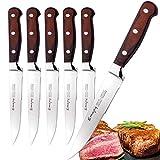 Emojoy Couteaux à Steak, Couteaux de Table Acier Inoxydable 6 pièces, Set Couteaux a Steack Manche Bois, Couteau de Cuisine Dentelé, Coffret Couverts de Table