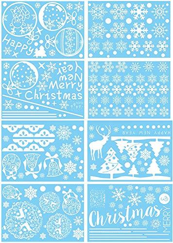 WeyTy Schneeflocken Fensterbild, Fensterdeko für Weihnachts- und Winter- Dekoration, hochwertigem Statisch Haftende PVC-Material -Kein Kleber -Wiederverwendbare Fensteraufkleber (8 Blätter)