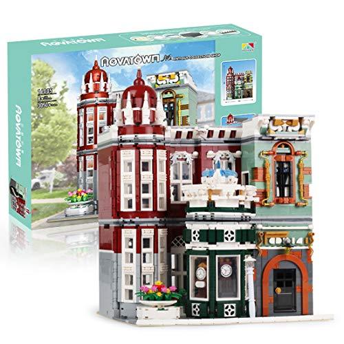 PEXL Bausteine Architektur, Konstruktionsspielzeug Antiquitätenladen Modellbau mit Licht Beleuchtung, 3050 Klemmbausteine und Minifiguren, Kompatibel mit Dänemark Marken