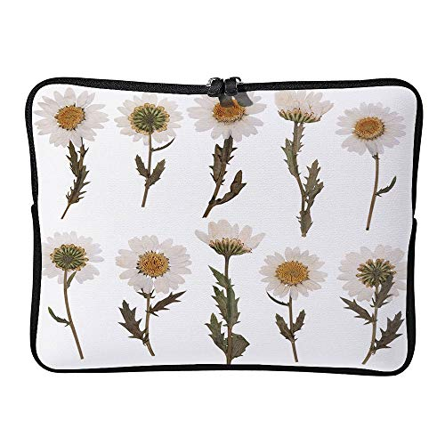 AmaUncle Pressed Daisy Flowers Isolated On White Background Laptop Sleeve Case Water-Resistant Protective Cover Portable Computer Carrying Bag Pouch for Laptop SW33426 17 inch/17.3 inch