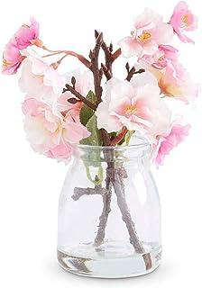 "Afloral Silk Cherry Blossom Arrangement in Glass Jar - 6.5"" Tall"