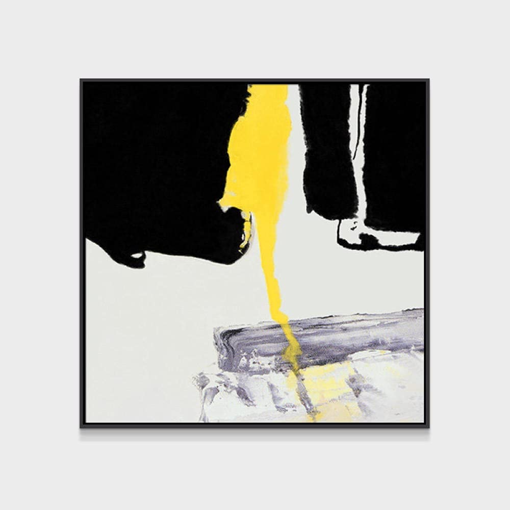 Canvas Paintings 100% Hand Painted Topics on TV Abstract Lan Art Black Yellow Max 58% OFF