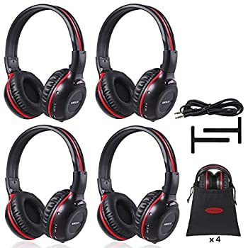 SIMOLIO 4 Pack of Vehicle IR Headphones Wireless Car Headphones Durable and Flexible for Kids Wireless Infrared Headphones with AUX Cable 2 Channel DVD Headphone Not Work on 2017+ GM s or Pacifica