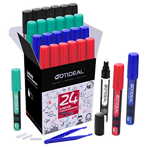 GOTIDEAL Liquid Chalk Markers, Bulk Pack of 24,4 Assorted Colors with Low-Odor Ink, Dry & Wet Erase, Whiteboard Pens Perfect for School, Office - Reversible Tip