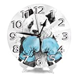 NA Wall Clock Boxing Panda White Round Clock Large Numbers Silent Non-Ticking 9.45' Clock Decorative Painting Battery Operated Clock for Home School Hotel Library