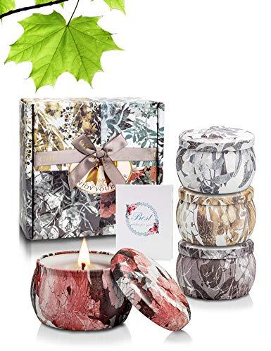 Yinuo Candle Bougie Parfumées Bougie Aromatique Boîte Cadeau 4 Canettes, Cire de Soja Naturelle, d'une Durée de 25-30 Heures, 4,4 OZ, Bougies D'aromathérapie avec Carte de Voeux Soulagement du Stress
