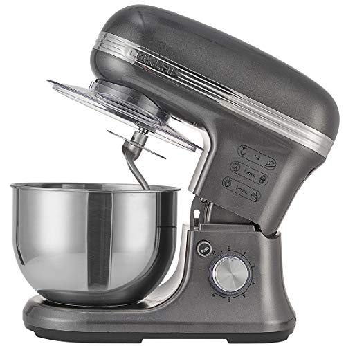 Stand Mixer,COKLAI 5.5-Qt Mixers Kitchen Electric Stand Mixer 6 Speed Dough Mixer Stainless Steel Mixer Bowl, Aluminium Die-casting Head shell With Whisk, Hooks, Beaters, Splash-guard, Gray Food Mixer